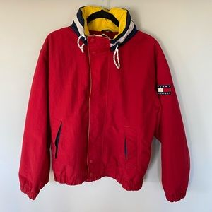 Vintage Red Tommy Hilfiger Jacket with Yellow Hood